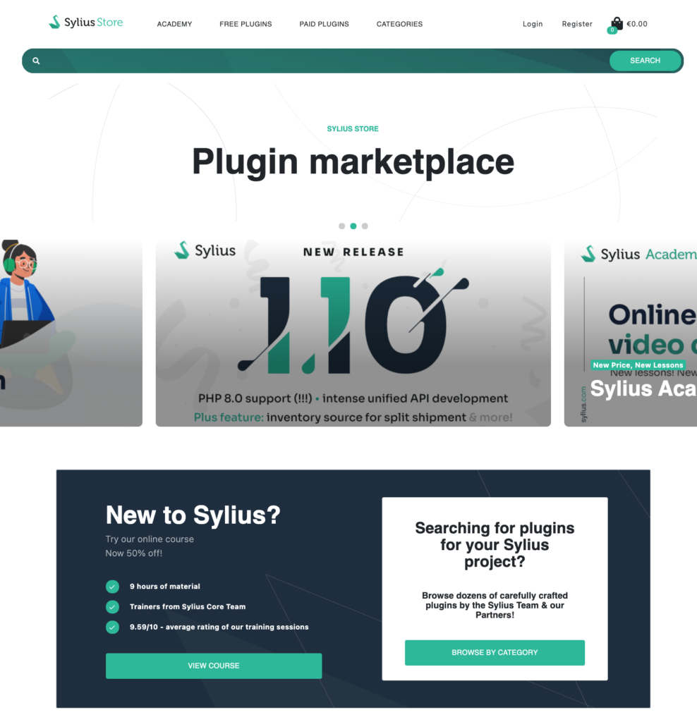 New Sylius plugin store homepage